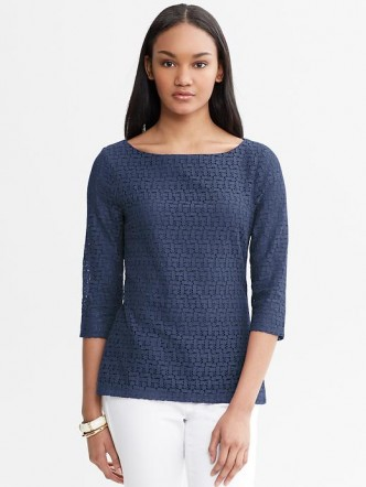 Geo Lace Top in cobalt blue from Banana Republic, $68