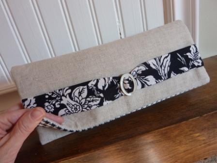 Natural Linen and Midnight Black Clutch from Pook & Thy