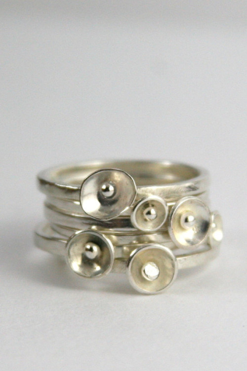 Set of three poppy stacking rings from Sea Flower Studios