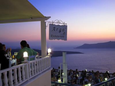 Restaurant on Santorini Island, Greece photo ilkerender
