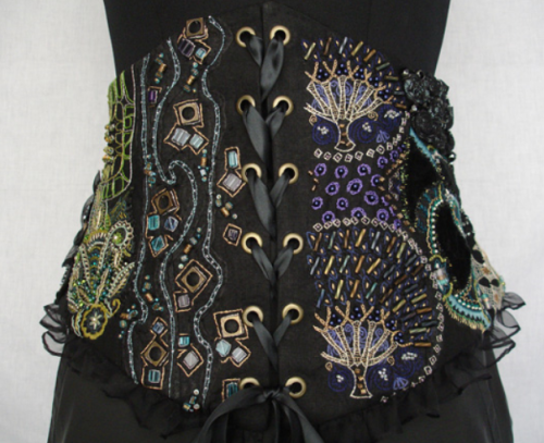 Embroidered belt corset by Laurie Lemelin