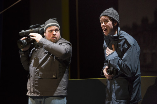 Steve Ross and Damien Atkins in Canadian Stage's London Road, photo David Hou
