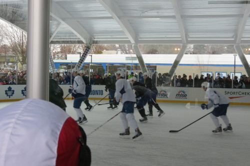The Toronto Maple Leafs hold a practice at Greenwood Park