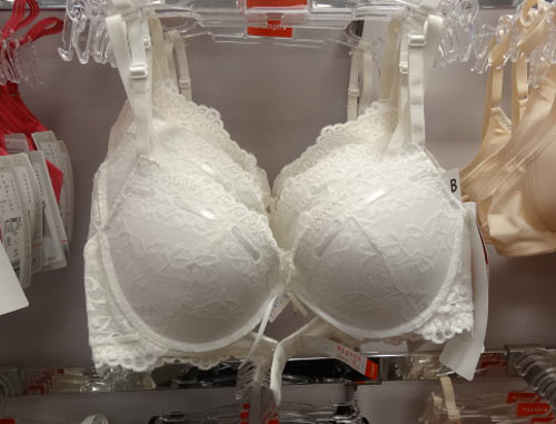 Triumph lace push up bra with ribbon detailing on the cups in vanilla and black, $37