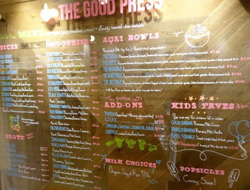 The Good Press menu, Yorkville