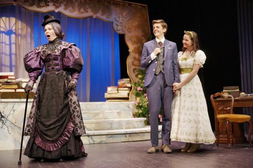 Nicole Wilson as Lady Bracknell, Victor Pokinko as Algernon and Eliza Martin as Cecily. Photo Scott Gorman