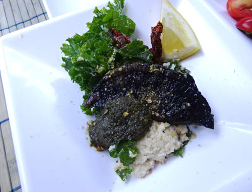 Portobello Steak mushrooms massaged kale horseradish celery root mash chimichurri pesto lemon
