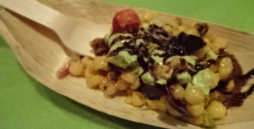 Israeli Couscous with Balsamic reduction and chocolate chimchurri sauce is so delectable, I went back for more.