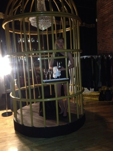 Girl in cage at CC Lounge