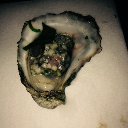 PEI oysters with apple whiskey mignonette at CC Lounge