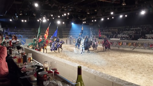 Men on horse engage in games at Medieval Times, Toronto