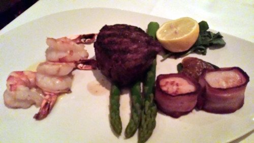 Mixed Grill with Filet Mignon, Grilled Shrimps and Bacon Wrapped Scallops at Morton's Restaurant