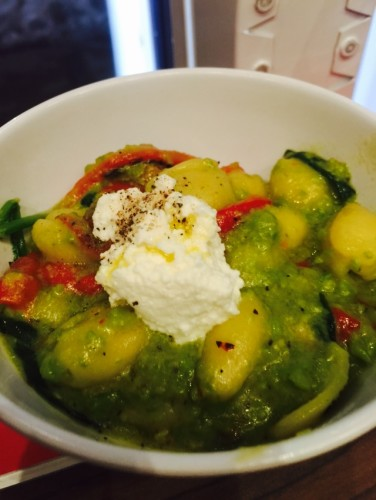 Cavatelli - gnocchi with a pea pesto topping, roasted red peppers, baby spinach, ricotta at Levetto Restaurant