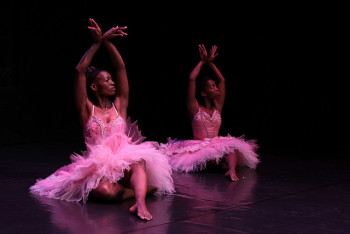 Mamela Nyamza (left) conceptualized, choreographed and directed the Meal for Canadian Stage; Kirsty Ndawo (right) performs, photo John Hogg, rockitpromo