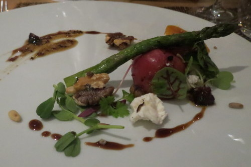 Asparagus salad with beets and greens at Cabin Restaurant at Hockley Valley Resort
