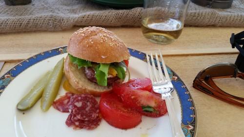 Beef sliders and farm fresh tomato salad at Heatherlea Farms