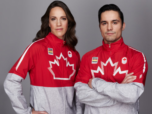 Jessica Zelinka and Sergio Pessoa in Canadian Women's and Men's Pan Am shirts from Hudson's Bay