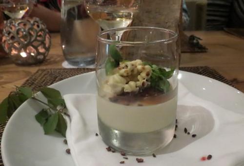 Rhubarb & Strawberry Panna Cotta with white chocolate popcorn at Cabin Restaurant
