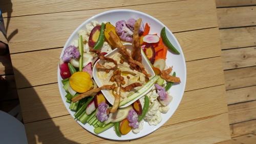 Hummus served with heirloom veggies at Cabana Pool Bar