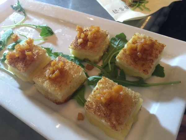 Grilled cheese with carmelized quince at La Societe Restaurant
