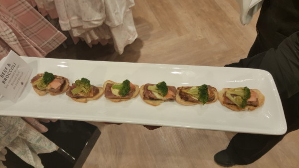 Beef and broccoli canapes at la Vie en Rose anniversary party