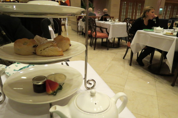 Scones with Devonshire Cream and strawberry jam at Nutcracker Afternoon Tea King Edward Hotel