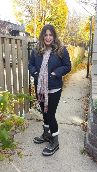 Sonja is wearing the Sorel Caribou Women's Boot in Shale