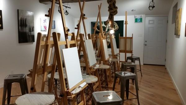 Studio area at Paint Cabin, Toronto