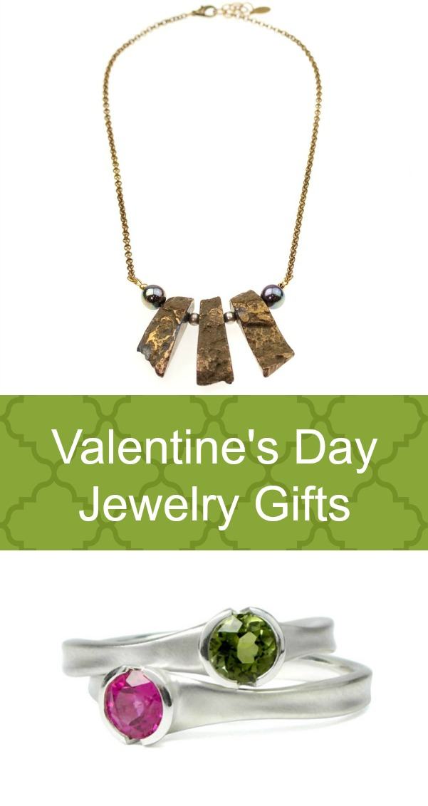 Valentine's Day Jewelry Gifts for Her include a copper necklace, tourmaline rings, Sterling Silver cuff bracelet.