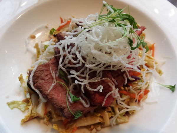 Asian flank steak with vegetables and noodles at The Chartroom Bar & Lounge