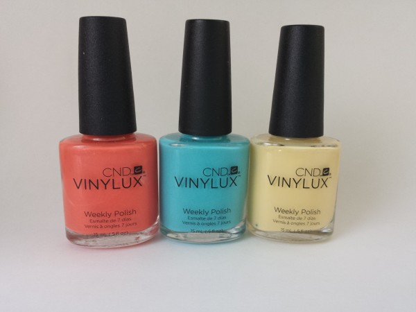 Desert Poppy, Aqua-Intance and Honey Darlin' from CND Vinylux Flirtation Collection can be added to Easter beauty gift basket