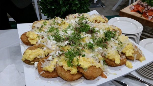 Peameal sandwiches with fried egg at Media Breakfast at the One of a Kind Spring Show 2016