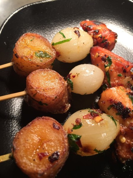 Roasted beets with lemon thyme marinade and sauteed beet greens at cresta toronto