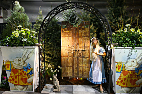 Through the gate with Alice in Wonderland at Canada Blooms at Enercare Centre in Toronto