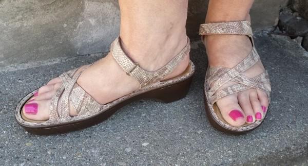 Naot Paris Sandals in Beige Snake