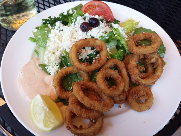 Fried Calamari with Greek salad at Pappas Grill on The Danforth