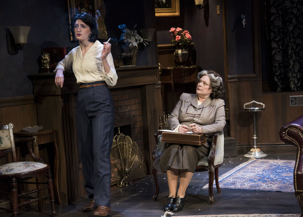 Lauren Saunders as Miss Casewell and Helly Chester as Mrs. Boyle in The Mousetrap at Lower Ossington Theatre, photo credit Seanna Kennedy photography