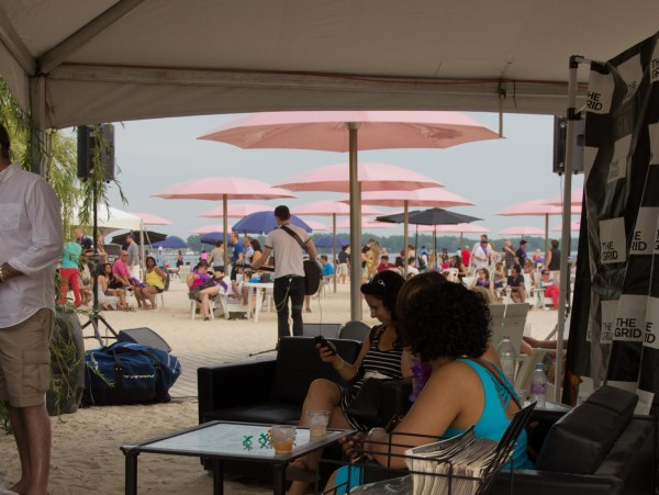 Relaxing at the Toronto Wine and Spirit Festival at Sugar Beach