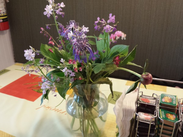 Flowers picked from the garden adorn the breakfast tables at The Forest Motel