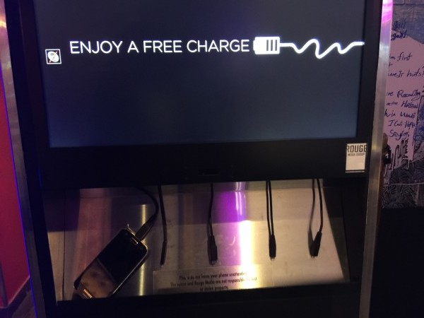 Free cell phone charging station at Posh Supperclub
