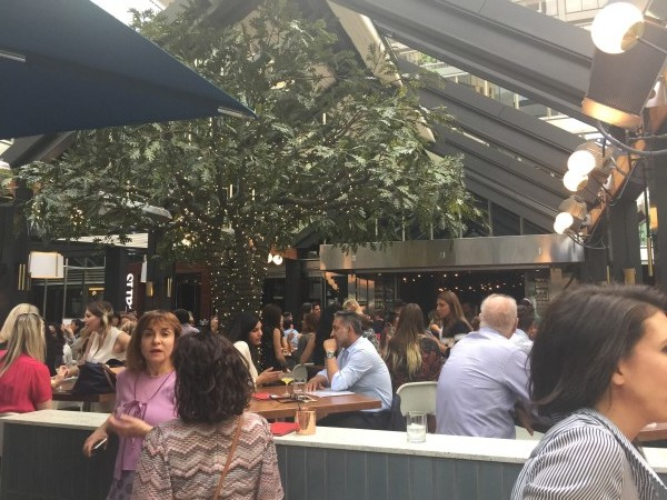 Guests enjoy Earls Kitchen and Bar Toronto patio renovation party