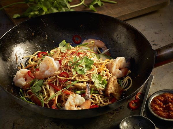 Kung Pao Noodle Bowl with Shrimp at Earls Kitchen and Bar Toronto patio renovation party