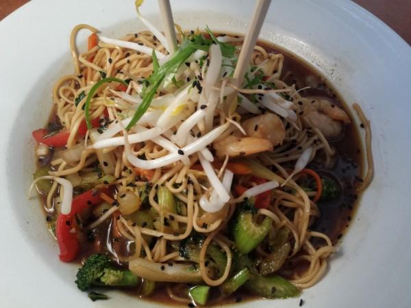 Teriyaki Chow Mein with stir-fried ramen noodles, soy, ginger, garlic, stir-fried vegetables and shrimp at The Annex Room