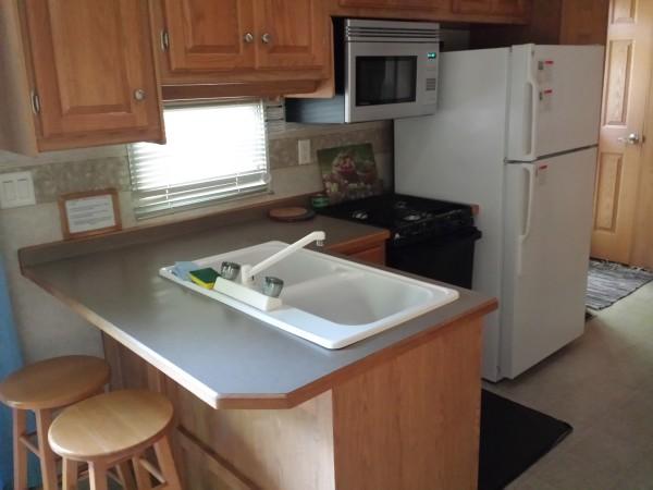 Kitchen at 39A RV at Sandbanks Beach Resort, Prince Edward County