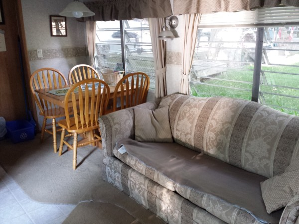Living room in Unit 39A at Sandbanks Beach Resort, Prince Edward County