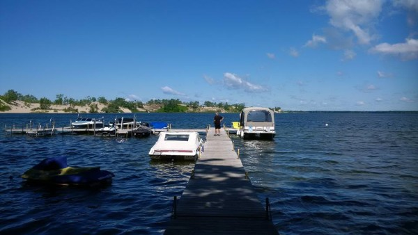 View of dunes from our dock at Sandbanks Beach Resort at Sand Dunes location