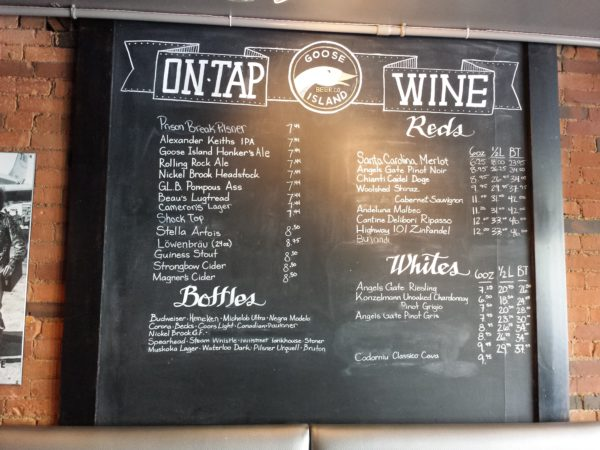 Wine and beer list at Factory Girl, Danforth