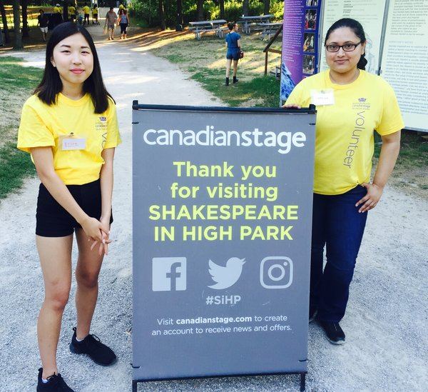 Volunteers at Shakespeare in High Park in Toronto 2016