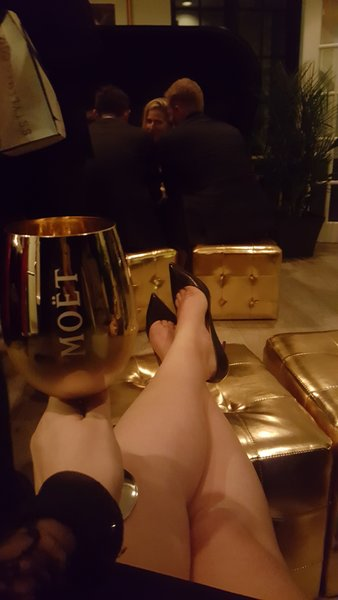 Relaxing with a glass of Moet & Chandon Imperial Champagne at Maison Moet during TIFF 2016