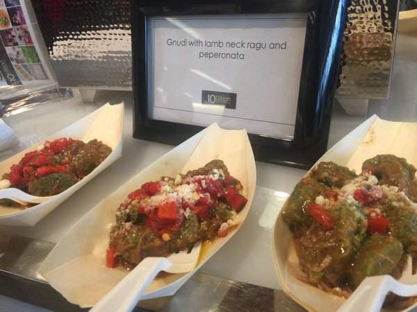 Gnudi with lamb neck ragu and peperonata from 10tation Event Catering at Toronto Catering Showcase